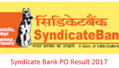 Syndicate Bank PO Result 2017 - Shortlist List Out